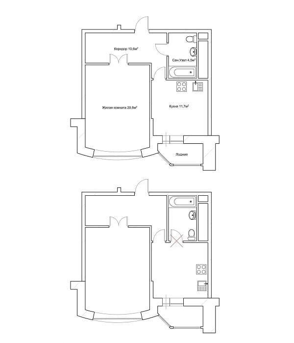Проход в помещение с унитазом через кухню или комнату запрещается