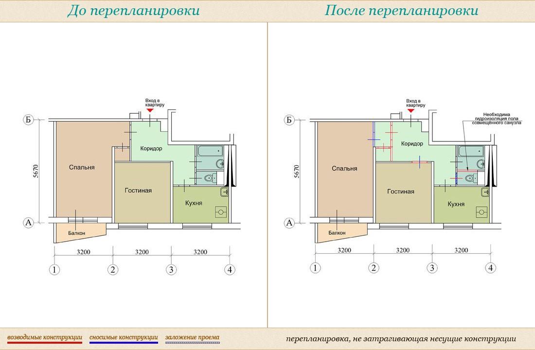 """Перепланировка квартир в домах серии ii от агентства """"город""""."""