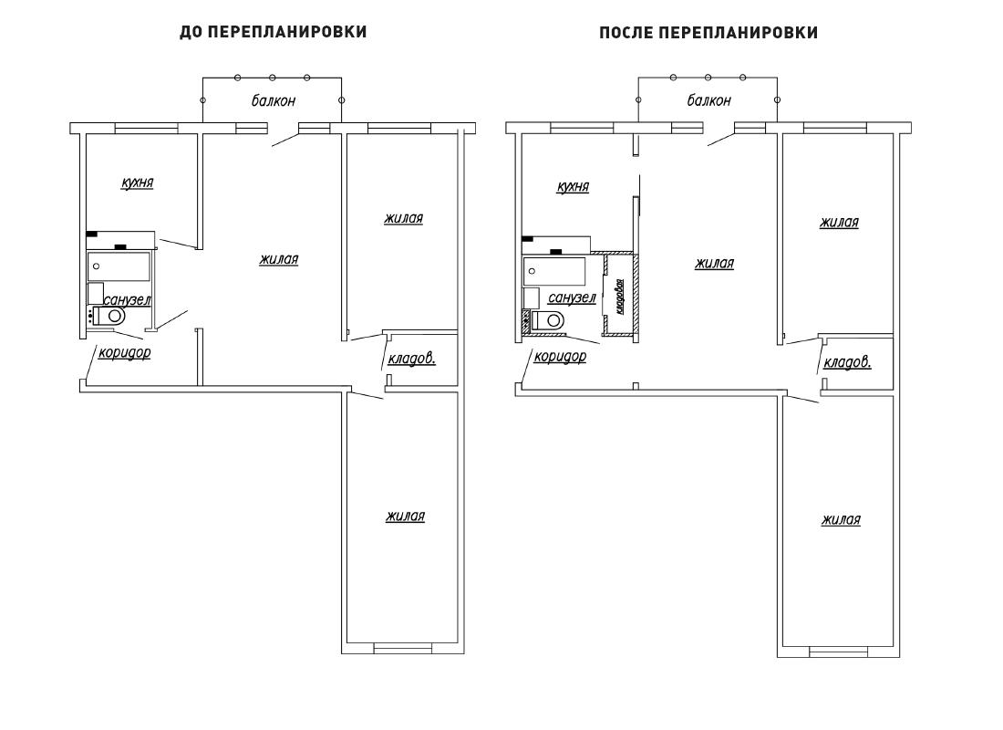 """Перепланировка квартир в домах 464-й серии от агентства """"гор."""